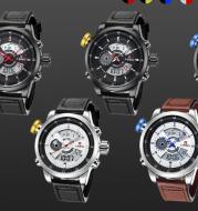 Trendy casual double men's watch Waterproof high quality belt electronic quartz watch