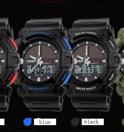 Time beauty personality solar watch fashion electronic double display waterproof outdoor sports men's watch student watch