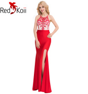 Plus Size Long Slim Backless Embroidery Evening Dress