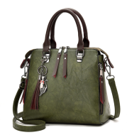 Superior Leather Tassel Cat Pendant Handbag