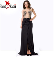 Long Slim Perspective Embroidered Backless Evening Dress