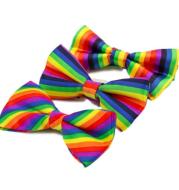 Fashion Colorful Rainbow Striped Bowties For Groom Men Women Wedding Party Leisure Gravatas Cravat Bowtie Tuxedo Bow Ties