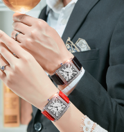 Shaking network red with the watch men's belt waterproof quartz watch ladies diamond couple women's watch