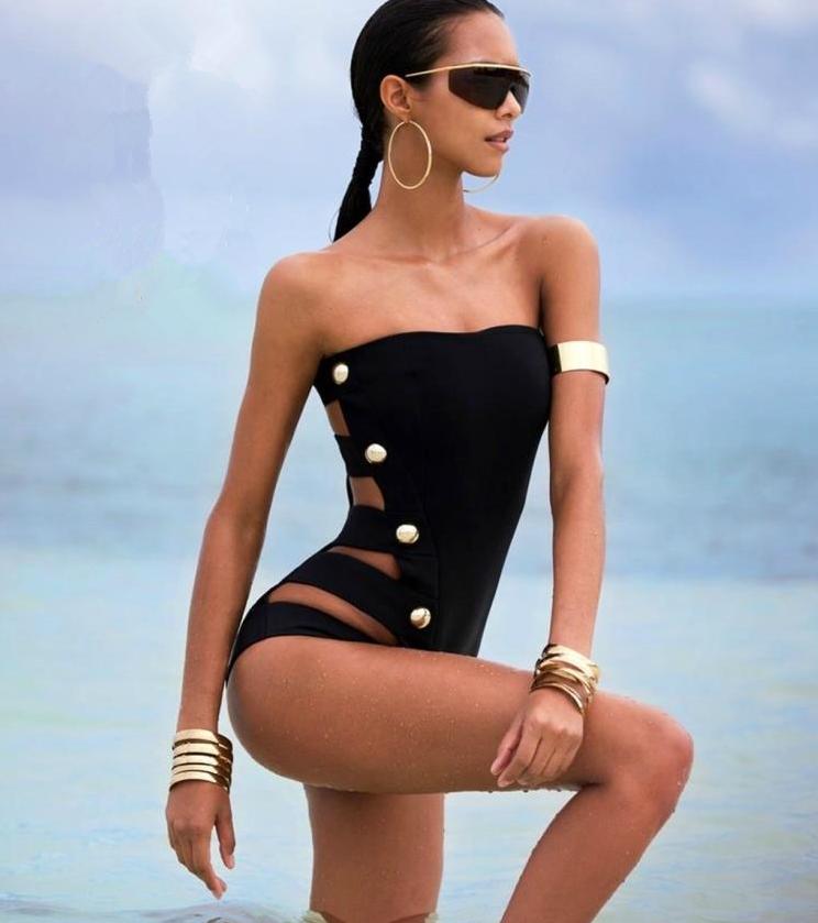 337533229942 Siamese slim tube top swimsuit black temperament waist swimsuit women's strap swimsuit
