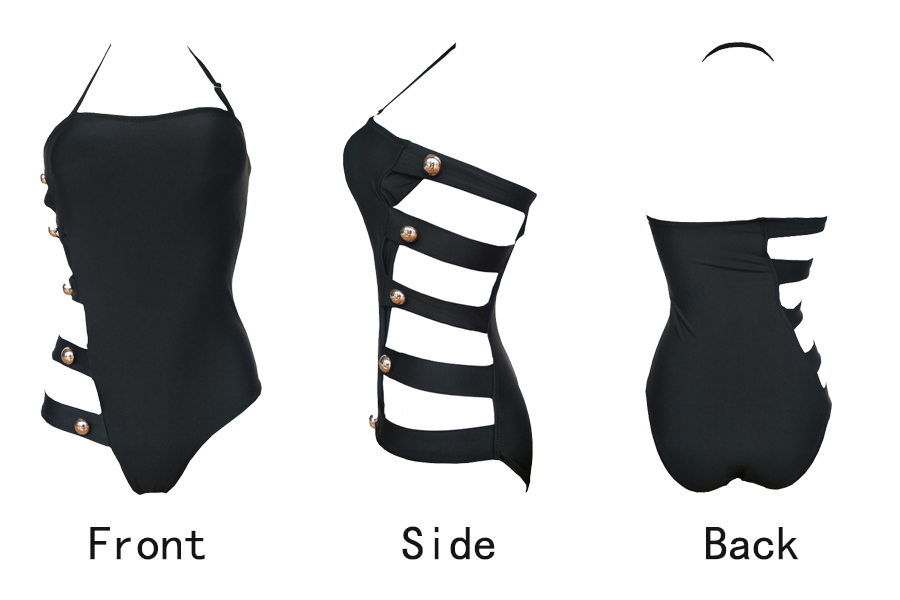 5254189155043 Siamese slim tube top swimsuit black temperament waist swimsuit women's strap swimsuit