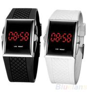 Men Women Casual Unisex White Black LED Digital Sports Wrist Watch Wristwatch Date Clock