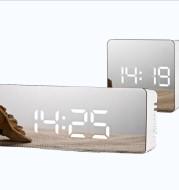 Digital LED multi-function mirror clock