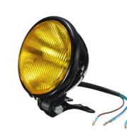 "5"" Round Bottom Mount Headlight - Black/Amber Lens"