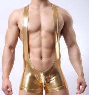 Imitation leather patent leather sexy men's one-piece boyshort underwear nightclub hollow paint leather fun