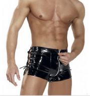 Patent leather men's tights, blue wild zipper shorts