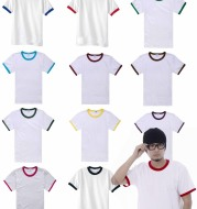 Color matching short sleeves men and women cotton round neck
