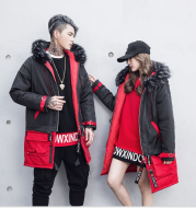 New Korean men's long section large cotton coat tide brand black red color matching down jacket lovers large size coat