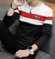 Male teen stitching slim bottoming shirt