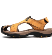 Paul camel leather sandals outdoor sports and leisure Baotou thick bottom non-slip beach shoes lazy big size shoes 4748