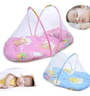 Portable Foldable Baby Kids Infant Bed Dot Zipper Mosquito Net Tent Sleeping Cushion