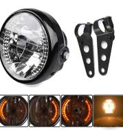 Motorcycle Headlight Turn Signal Indicator Blinker Light With Bracket Headlamp for Harley Suzuki Yamaha Cafe Racer