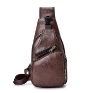 Backpack male USB charging anti-theft chest bag casual retro pu shoulder bag men's outdoor riding sports Messenger bag