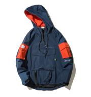 Jacket colorblock hooded windbreaker jacket