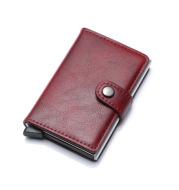 RFID Anti-theft Men Vintage Wallet Aluminum Metal Purse Leather Cover
