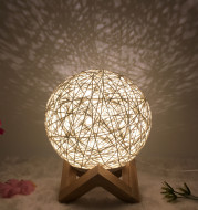 Amazon Hot Selling Creative Linen Table Lamp Novel and Unique LED Intelligent USB7 Color RGB16 Color Remote Control Rattan Ball Lamp