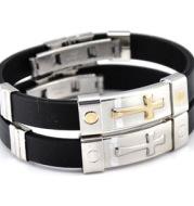 Cross Silicone Titanium Steel Bracelet