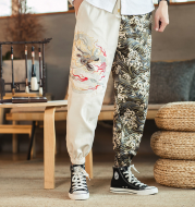 Embroidered silver dragon trousers