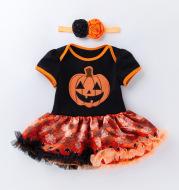 Halloween Pumpkin Short Sleeve Romper