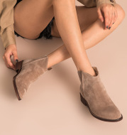 Leather ladies flat boots