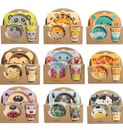 Cartoon Animal Plate Bow Fork Cup Baby Dinnerware Feeding Set Bamboo Fiber Baby Children Container Tableware Set