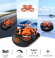 RC Boat Water Land And Air Four-Axis Aircraft Hovercraft Three-in-one Multi-function Toy One-button Tumbling Mini Drone