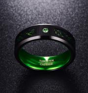 Matte Green Zircon Men Ring Tungsten Carbide Wedding Ring