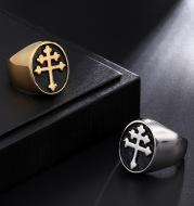 Stainless steel ring cross croissant ring