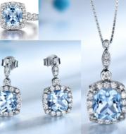 Fashion S925 Sterling Silver Blue Topaz Jewelry Set