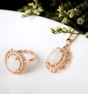 S925 silver chalcedony jewelry set