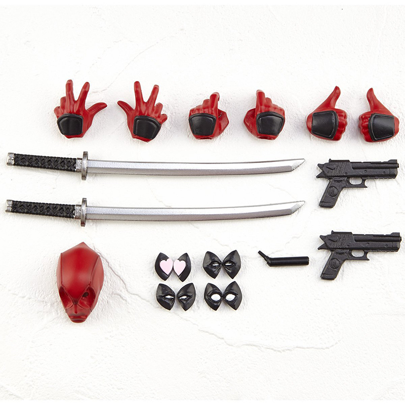 deadpool action figure 6 inch accessories hands, samuria sowrd, mask and guns