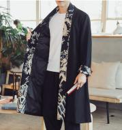 Casual Stitching Printed Linen Cloak Plus Fat Plus Size Windbreaker