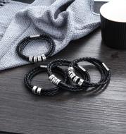 Personalized Black Braided Leather Bracelet