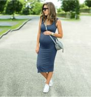 Round Neck Stretch Maternity Dress