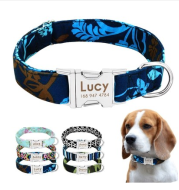 Cat Dog Collar Collar Lettering Anti-lost Tag Small Large Dog Traction Rope Collar Bell Dog Tag Custom