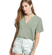 Custom Fashion Cotton V Neck Short Sleeve T-shirt  Crop Tops Loose Short