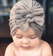 Pleated bowknot baby hat