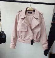Spring new slim lapel short PU female jacket jacket leather