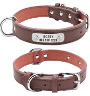 Grote Duurzaam Gepersonaliseerde Halsband PU Leer Gevoerde Pet ID Halsbanden Aangepast voor Kleine Medium Grote Honden Kat 4 Size