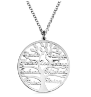 Family Tree Name Necklace Tree Of Life Stainless Steel Customised Necklace
