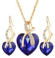 Heart-shaped faux austrian crystal zircon earrings
