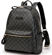 Check pattern leather backpack