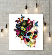 Skull with butterfly diamond painting