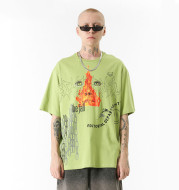 Flame Graffiti Print Loose T-Shirt