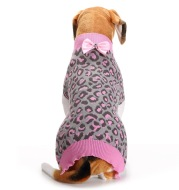 Pink leopard bow pet sweater