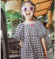 Girls dress simple plaid mushroom sleeve shirt skirt